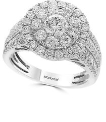effy women's classique 2.21 tcw diamond and 14k white gold cocktail ring/size 7 - size 7
