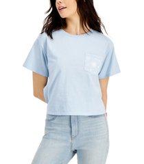 mighty fine juniors' cotton cosmic doodles pocket t-shirt