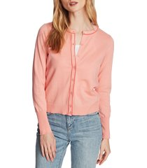 women's court & rowe light luxe tipped cotton & silk cardigan, size x-small - pink