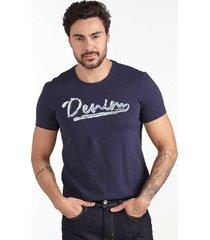 camiseta convicto estampa denim marinho - azul marinho - masculino - algodã£o - dafiti