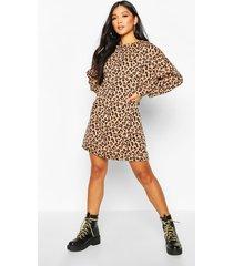 leopard print balloon sleeve oversized sweatshirt dress, camel