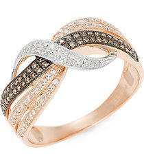 14k two-tone gold, black rhodium-plated, white & espresso diamond ring