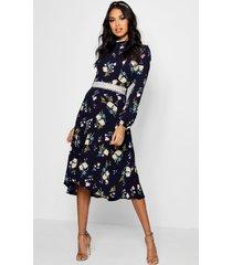 boutique bloemenprint skater jurk met lange mouwen, marineblauw
