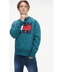 tommy hilfiger men's tommy flag sweatshirt atlantic deep - xxl