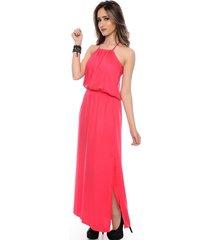vestido b'bonnie longo com fenda lateral brigitte pink