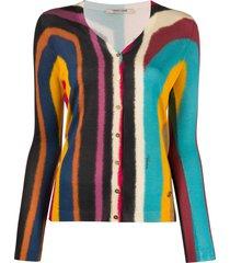 roberto cavalli abstract-print silk cardigan - pink