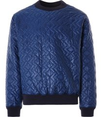 monitaly quilted crewneck pullover zigzag dotera fill 3oz | navy | m28502-nvy