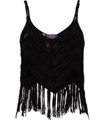 zea tassel crochet top t-shirts & tops sleeveless svart superdry