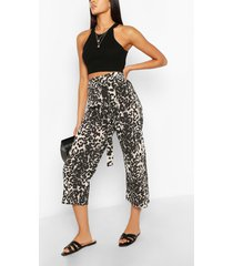 tall leopard belted woven culottes, brown