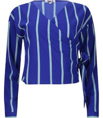 blusa a rayas cruzada en frente color azul, talla 6