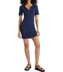 french connection paze rib body-con dress, size 8 in indigo at nordstrom