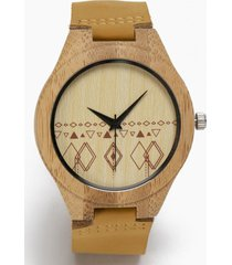reloj madera cuero marrón millam