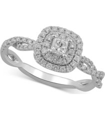diamond princess braided engagement ring (5/8 ct. t.w.) in 10k white gold
