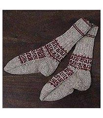 wool socks, 'warm crimson' (india)