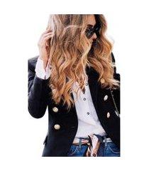 blazer botões dourados feminino estilo balmain top qualidade acinturado moderna preto