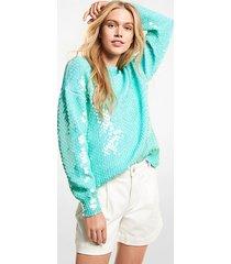 mk pullover in cotone con paillettes - cool aqua - michael kors