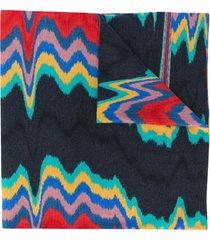 missoni abstract print wool scarf - grey