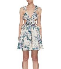 'cassia' ruffled cut-out detail mini dress