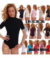 women cotton bodysuit turtle mock neck short sleeve thong 1430 leotard body lady