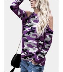 purple camouflage round neck cold shoulder long sleeves t-shirt