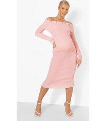 zwangerschap geplooide midi jurk met uitgesneden hals, rose