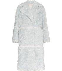 vika gazinskaya double breasted panelled mohair alpaca blend coat -