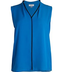 calvin klein women's v-neck shell top - blue - size m