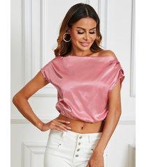 yoins blusa de manga corta con cuello barco de satén rosa