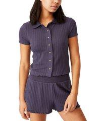 cotton on knit pointelle lounge polo shirt