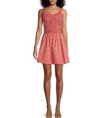 free people women's petunia mini fit-&-flare dress - poppy combo - size l