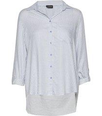 blouse long-sleeve blus långärmad blå taifun