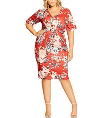 city chic trendy plus size printed twist-front sheath dress