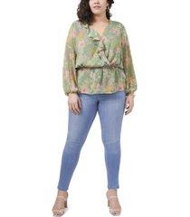 plus size long sleeve ruffled vernona garden wrap blouse