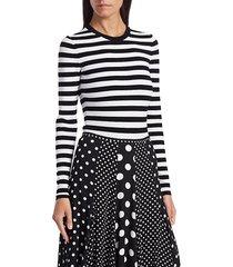 michael kors women's stripe bodysuit - black white - size xs