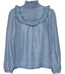 riel tencel blouse lange mouwen blauw line of oslo