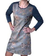 vestido floreado gris alexandra cid