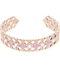 bracciale rigido in ottone rosato con cristalli e smalto rosa spessore 1,4 cm per donna