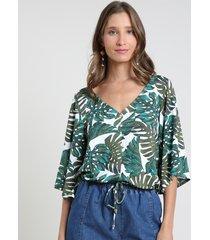blusa feminina ampla estampada de folhagem com botões manga 3/4 decote v off white
