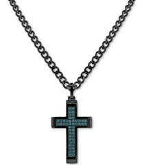 """men's cubic zirconia cross 24"""" pendant necklace in black ion-plated stainless steel"""