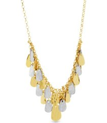 catherine malandrino women's 2-tone hammered triangle dangle yellow gold-tone and silver-tone bib chain necklace