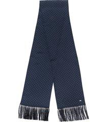 saint laurent studded tassel scarf - blue