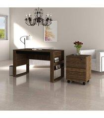conjunto de escritório com mesa e gaveteiro 01 nogal e preto dallas - tricae