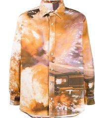 424 oversized graphic print shirt - neutrals
