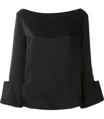 gloria coelho boat neck blouse - black