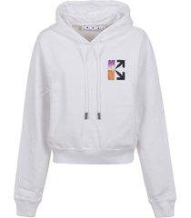 off-white gradient crop hoodie