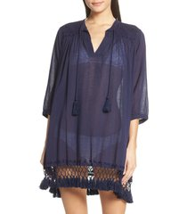 women's roller rabbit lucknow serafina cover-up tunic, size xx-small - blue