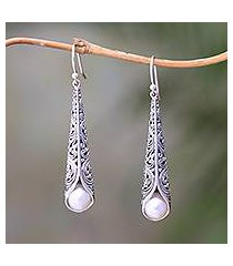 cultured pearl dangle earrings, 'balinese trumpet in white' (indonesia)