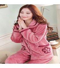 pajamas women velvet home sleepwear long sleeved autumn and winter thick autfit