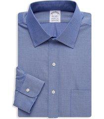 brooks brothers men's regent-fit print dress shirt - dark blue - size 17 34