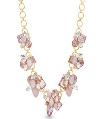 catherine malandrino women's pink rhinestone yellow gold-tone cluster style necklace